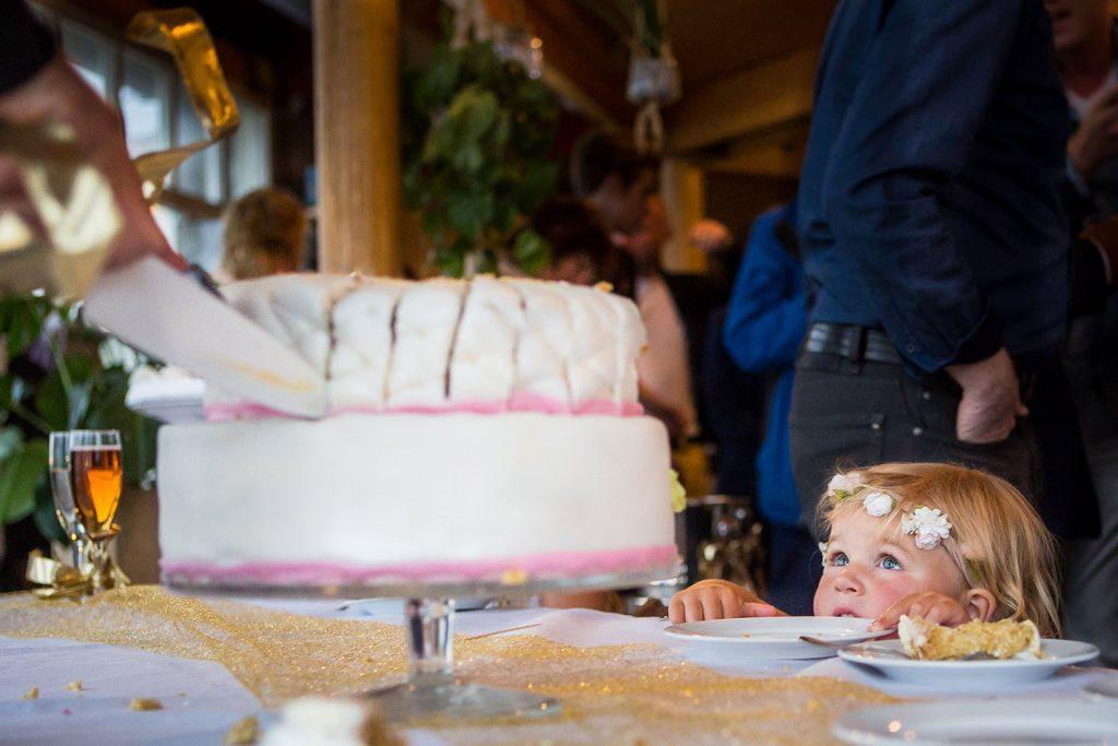 trouwfoto's: Close up foto van bruidstaart tijdens bruiloft